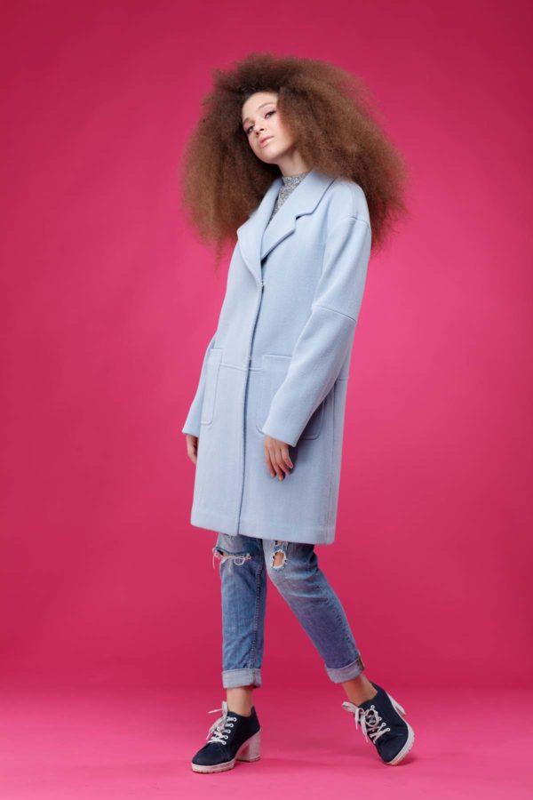 купить пальто оптом от производителя Орсола Шерсть Италия голубой рубчик