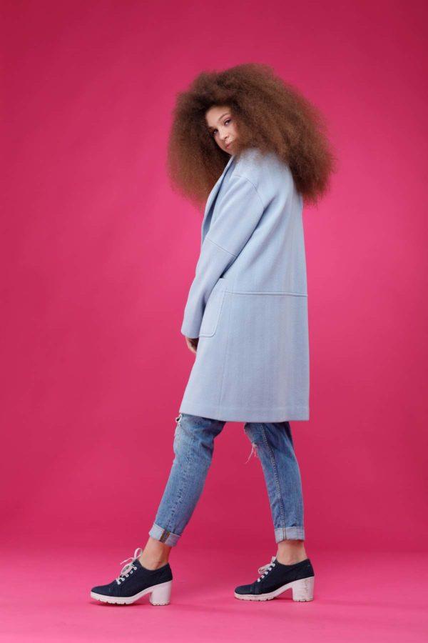 купити пальто оптом від виробника Орсола Шерсть Італія блакитний рубчик