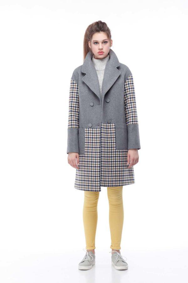 купити пальто оптом від виробника Шерсть Італія Орсола сірий клітина