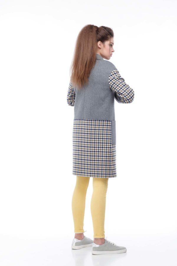 купить пальто оптом от производителя Шерсть Италия Орсола серый клетка