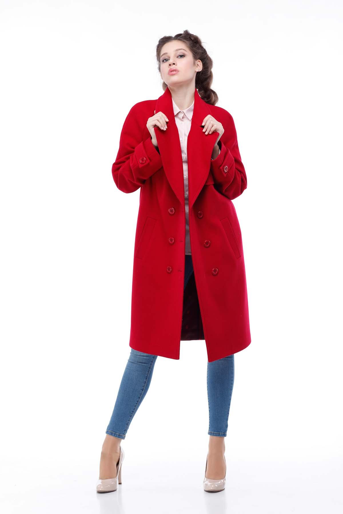 Купить пальто осень Фелция Шерсть Италия красный