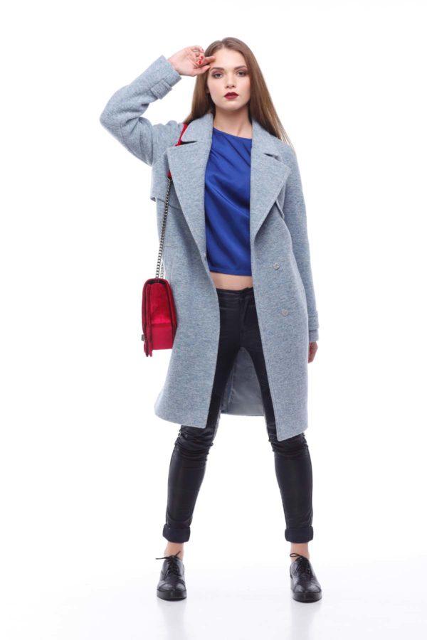 Купить пальто осень Фелция Шерсть Италия серо-голубой меланж