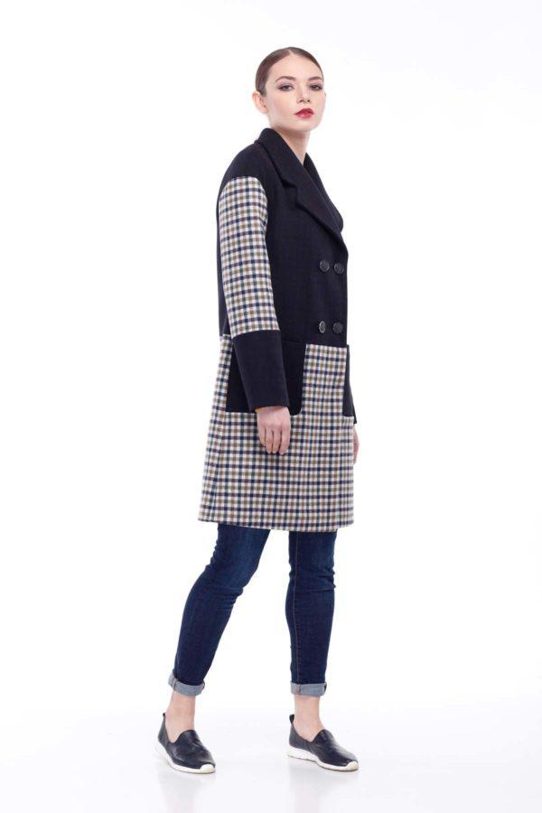 купити пальто оптом від виробника Шерсть Італія темно синій клітина