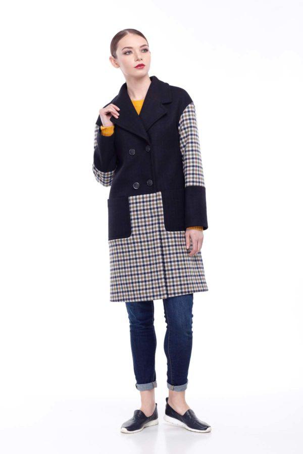 купить пальто оптом от производителя Шерсть Италия темно синий клетка