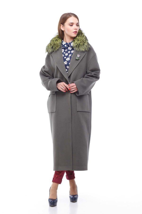 купити пальто жіноче весна-осінь Стефані хакі хутро Кашемір Туреччина