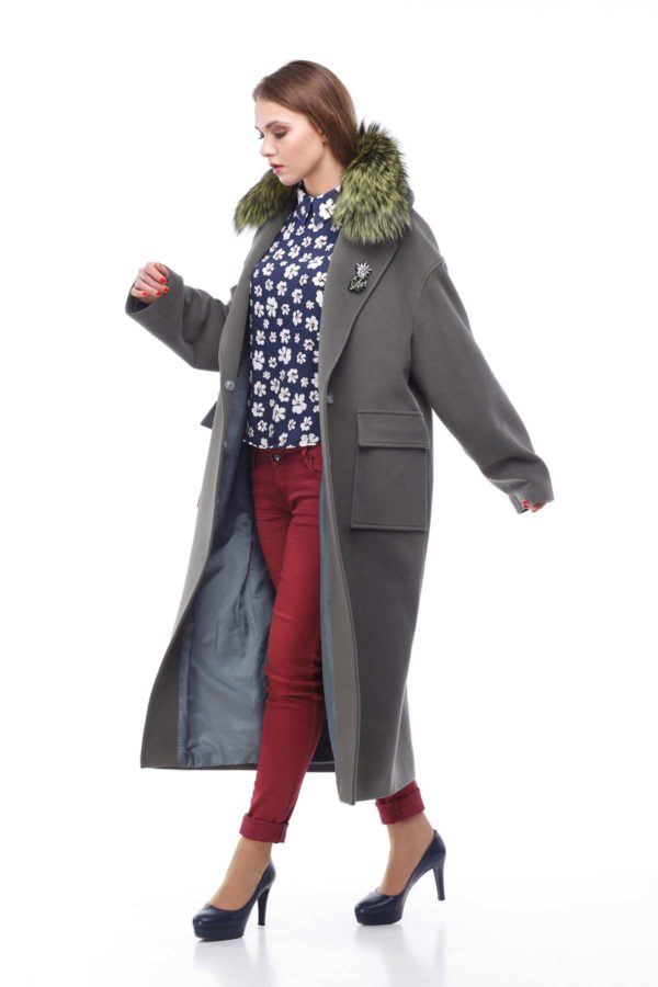 купить пальто женское весна-осень Стефани хаки мех Кашемир Турция