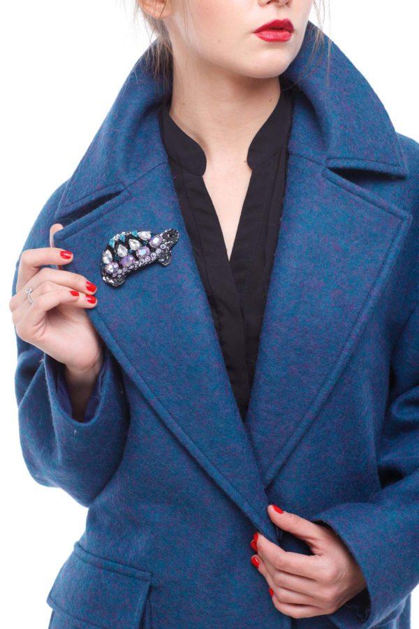 купить пальто женское весна-осень Шерсть Италия изумруд брошь