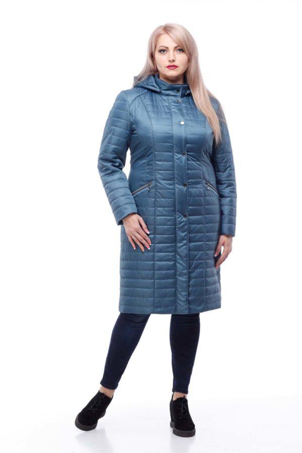 купить стеганое пальто весна Софи 2 серо-зеленый