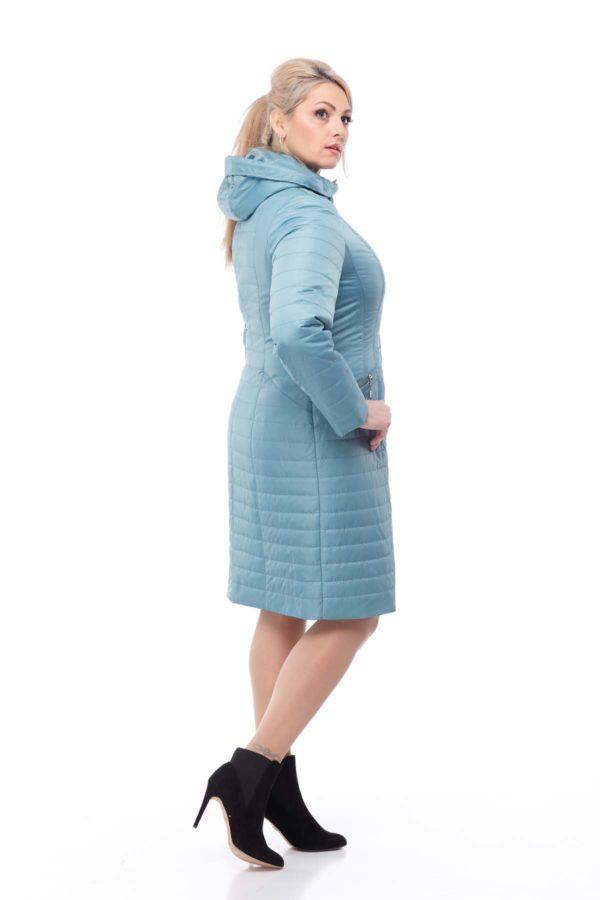 купить стеганое пальто весна Софи-2 аквамариновый memory oil