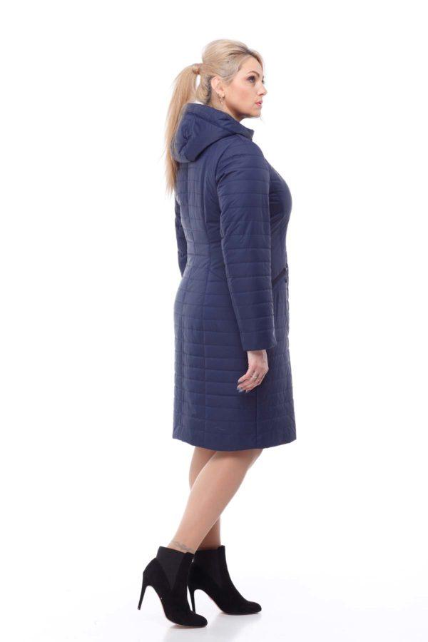 купить стеганое пальто весна Софи-2 Темно-синий memory oil