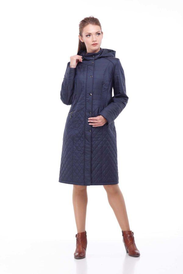 купить стеганое пальто весна Софи Стежка темный джинс ful dal