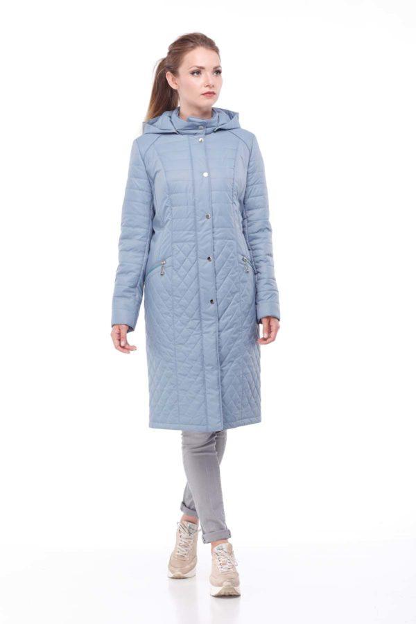 купить стеганое пальто весна Софи серо-аквамариновый ful dal