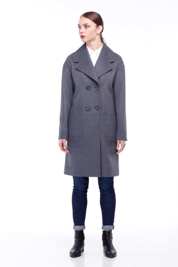 купить пальто оптом от производителя Орсола Шерсть Турция серо-синий отобранные
