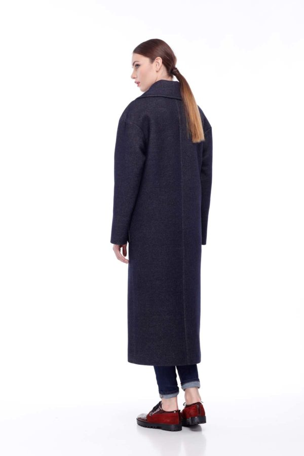 купить пальто женское весна-осень Шерсть Италия Пальто темно-синий джинс
