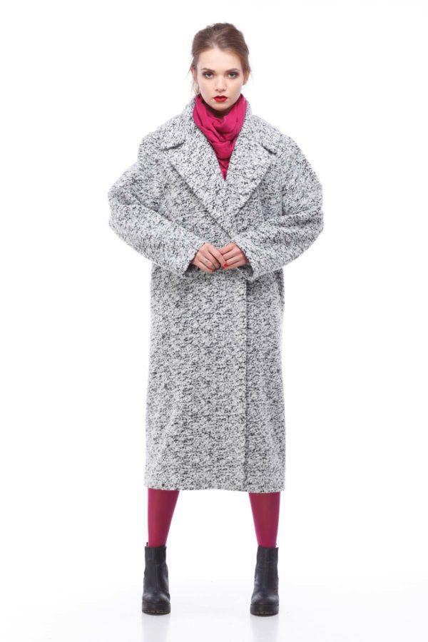 Купить пальто Шерсть Италия Николетта черно-белое букле