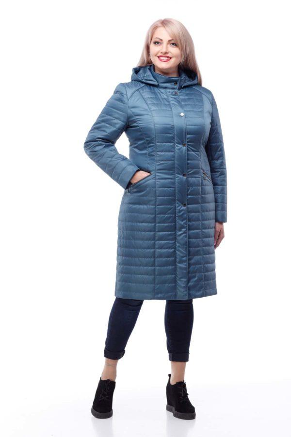купить стеганое пальто весна Софи-2 Серо-синий memory oil