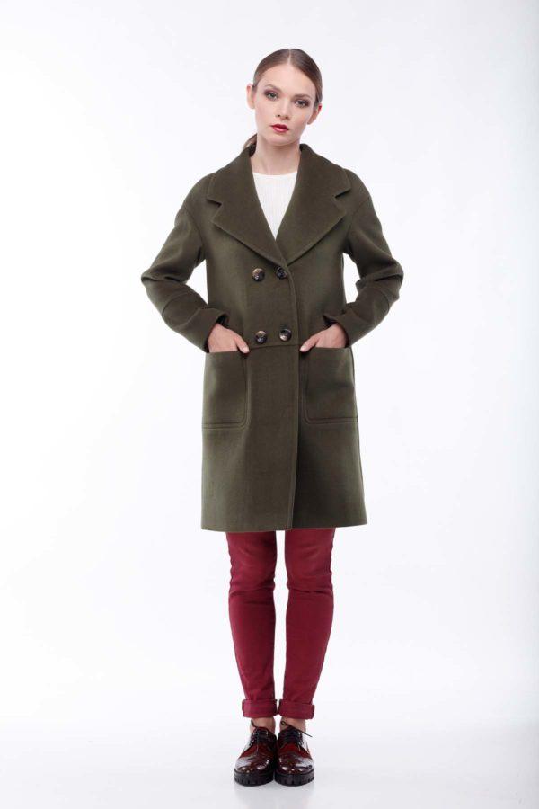 купити пальто оптом від виробника Орсола Шерсть Італія хакі