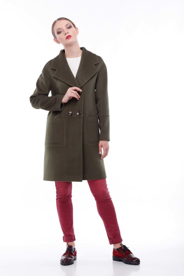 купить пальто оптом от производителя Орсола Шерсть Италия хаки