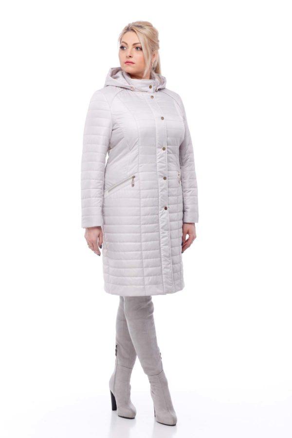 купить стеганое пальто весна Софи-2 Пломбирный memory oil