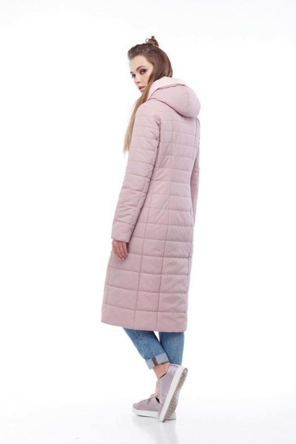 купить стеганое пальто от производителя Сима темная пудра светлый персик ammy