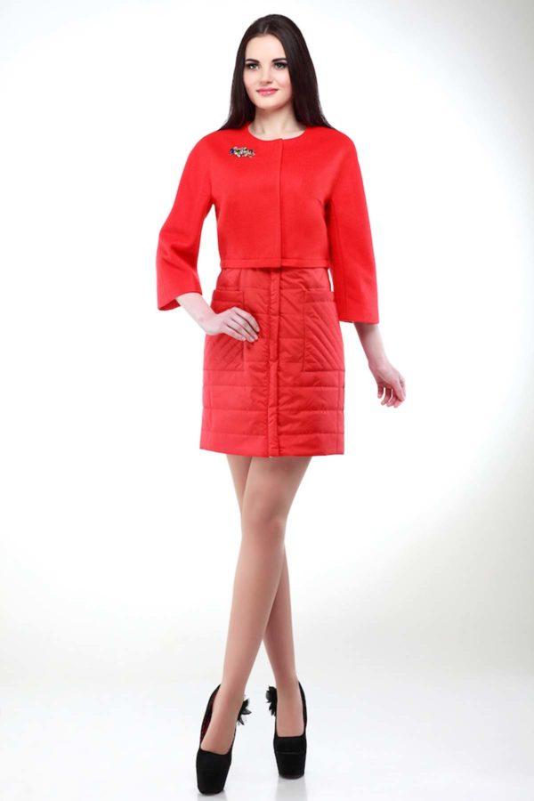 купить стеганое пальто украина Тиффани оранжево-красный memory oil