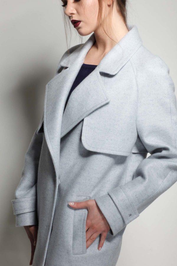 Купить пальто осень Шерсть Италия Фелиция серо-голубой