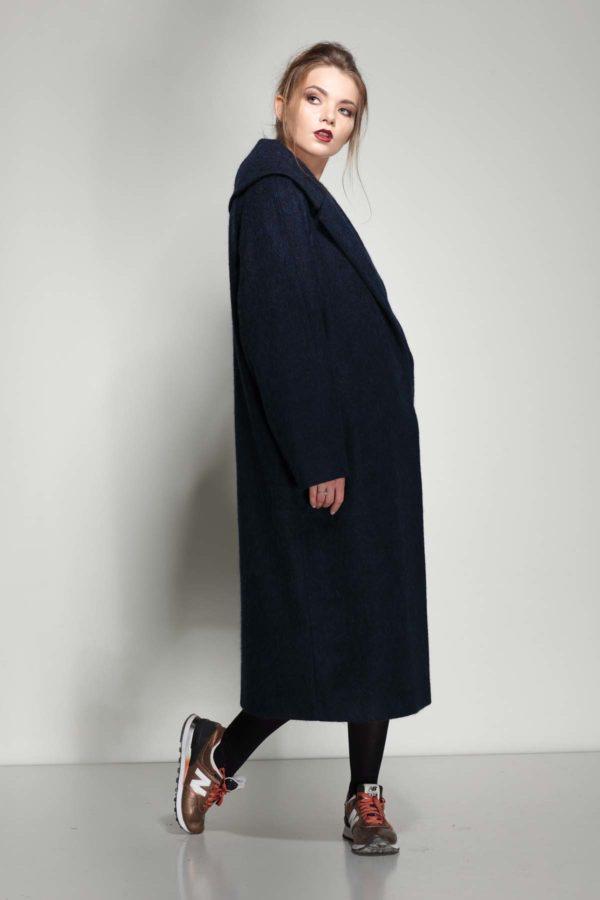 Купить пальто Шерсть Италия темно-синий