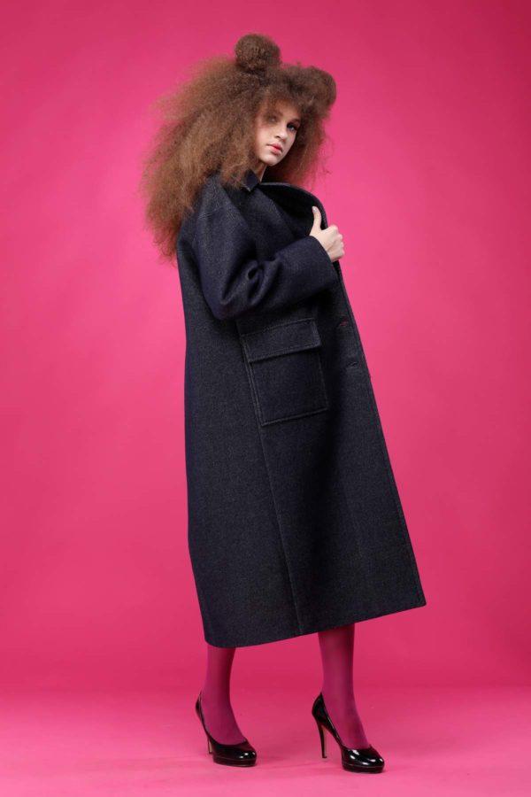 купить пальто женское весна-осень Шерсть Италия Стефани джинс