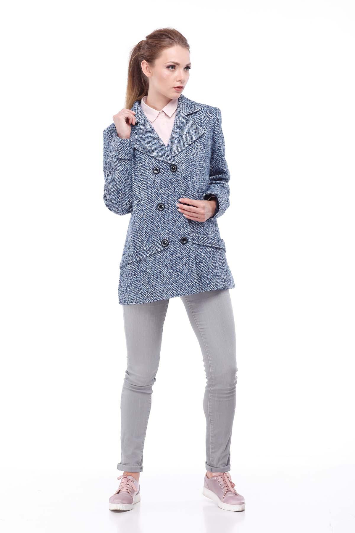 пальто женское Риана Твид сине-бело-голубой