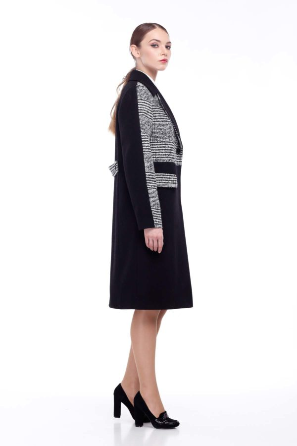 купити пальто жіноче київ магазини Тара Шерсть Італія Тара чорний чорно-біла клітка