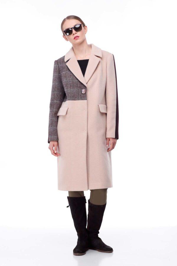 купить пальто женское весна-осень Тара кэмел клетка шоколад