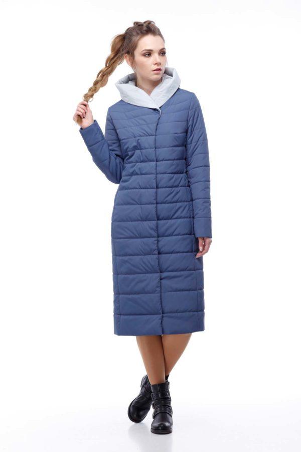 купить стеганое пальто от производителя Сима синий жемчужно-серый ammy