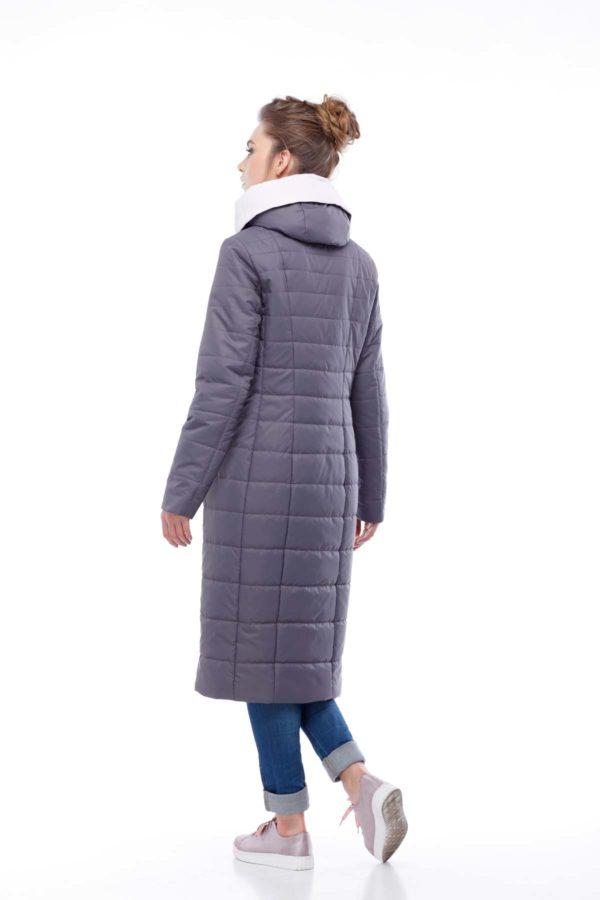купить стеганое пальто от производителя Сима антрацит светлая пудра ful dal