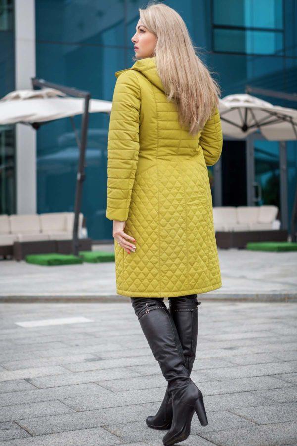 купить стеганое пальто весна Софи Стежка зеленый лайм memory oil
