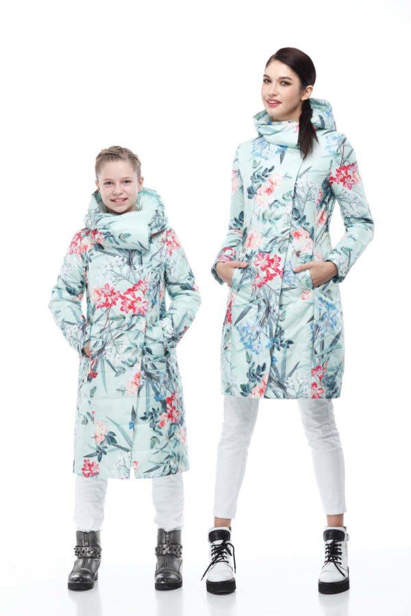 Дитяче пальто стьогане КОМІЛЬФО принт мята