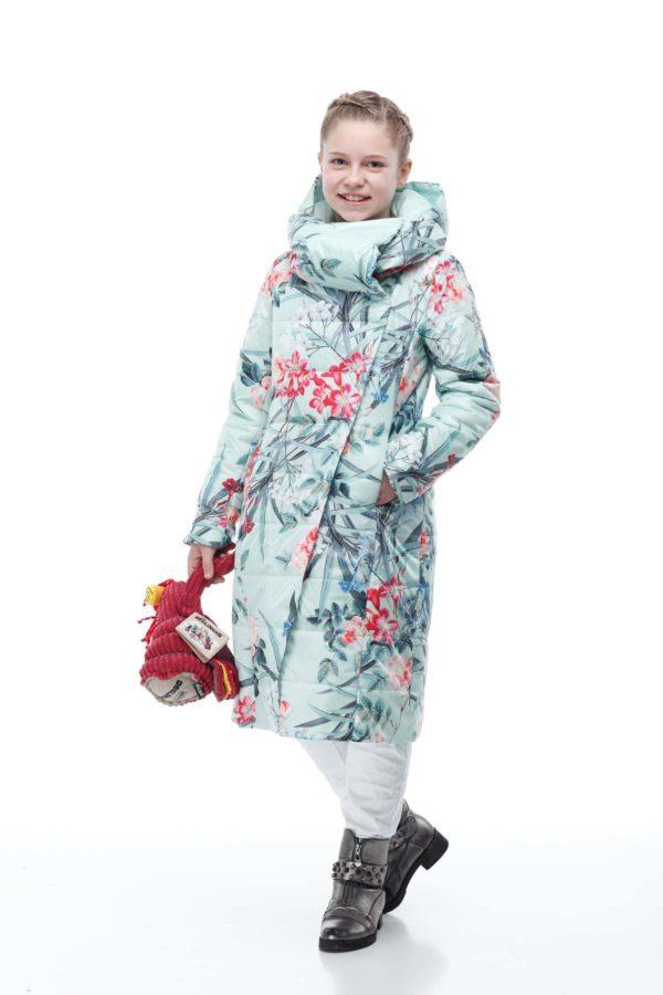 Детское пальто стеганое Камила принт цветок мята