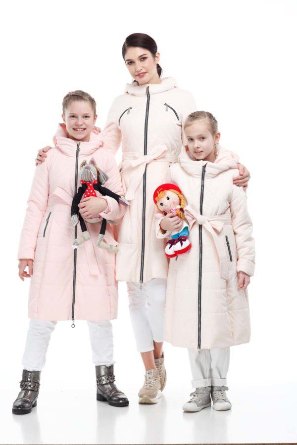 Детское пальто стеганое Аврора светлый персик, сире