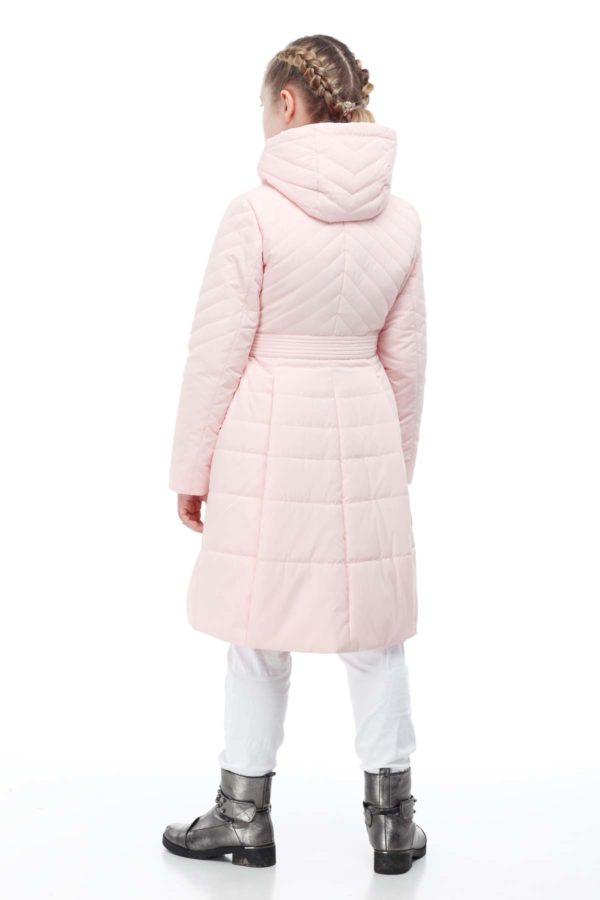 Детское пальто стеганое Аврора персик, сире
