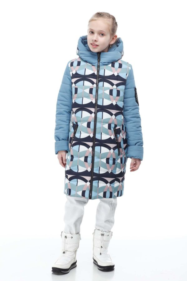 Детское пальто стеганое Веста принт абстракция