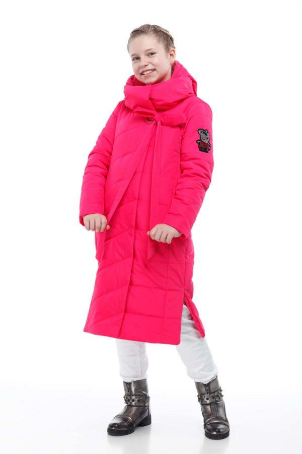 Детское пальто стеганое Вероника фуксия эмми
