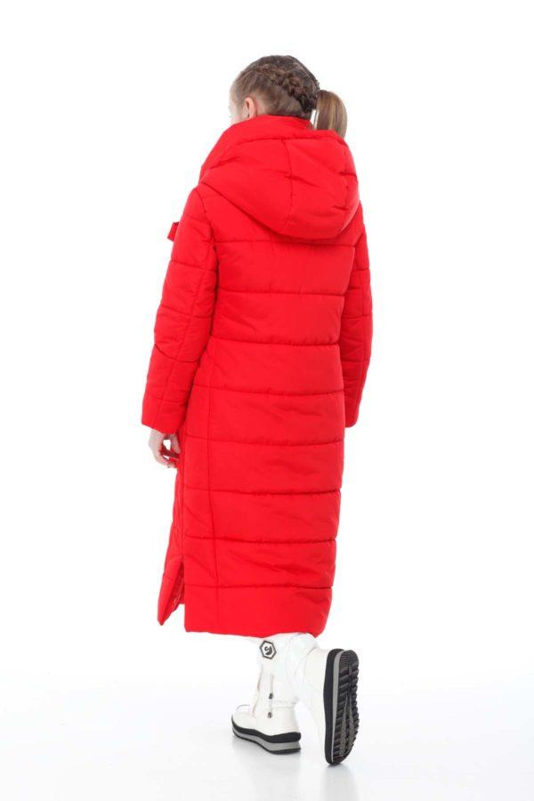 Детское пальто стеганое Вероника ярко-красный эмми